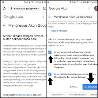 Cara remove google akun di browser android dan iphone