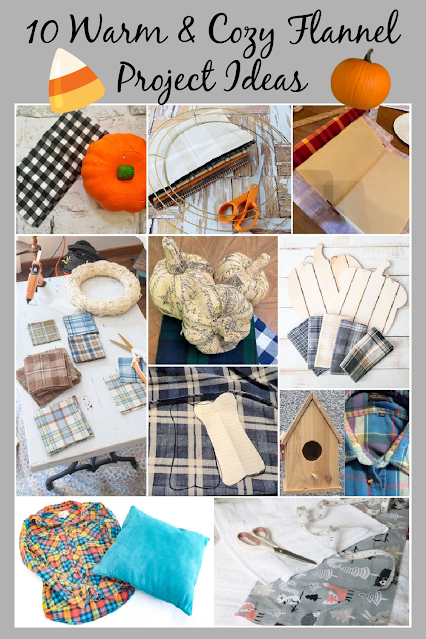Photo collage of flannel craft projects.