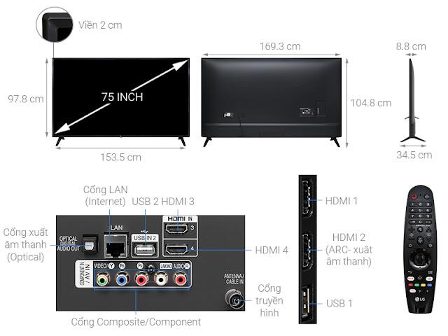 Smart Tivi LG 4K 75 inch 75UM7500PTA