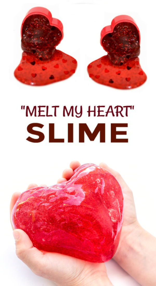 Instead of giving candy valentines try making this unique melting heart slime for kids instead!  Easy glue and starch recipe. #slimerecipe #slime #heartslime #slimevalentines #valentinesday #nocandyvalentinesforkids #growingajeweledrose