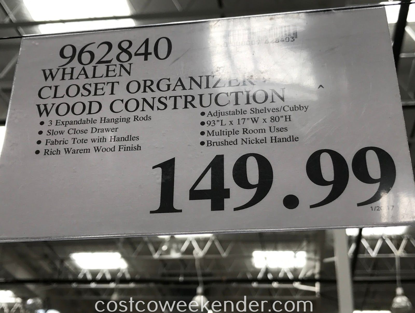 Deal for the Whalen Closet Organizer at Costco