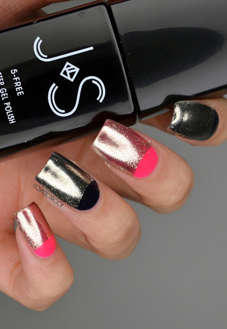 Chrome Half Moon Gel Polish Nail Art