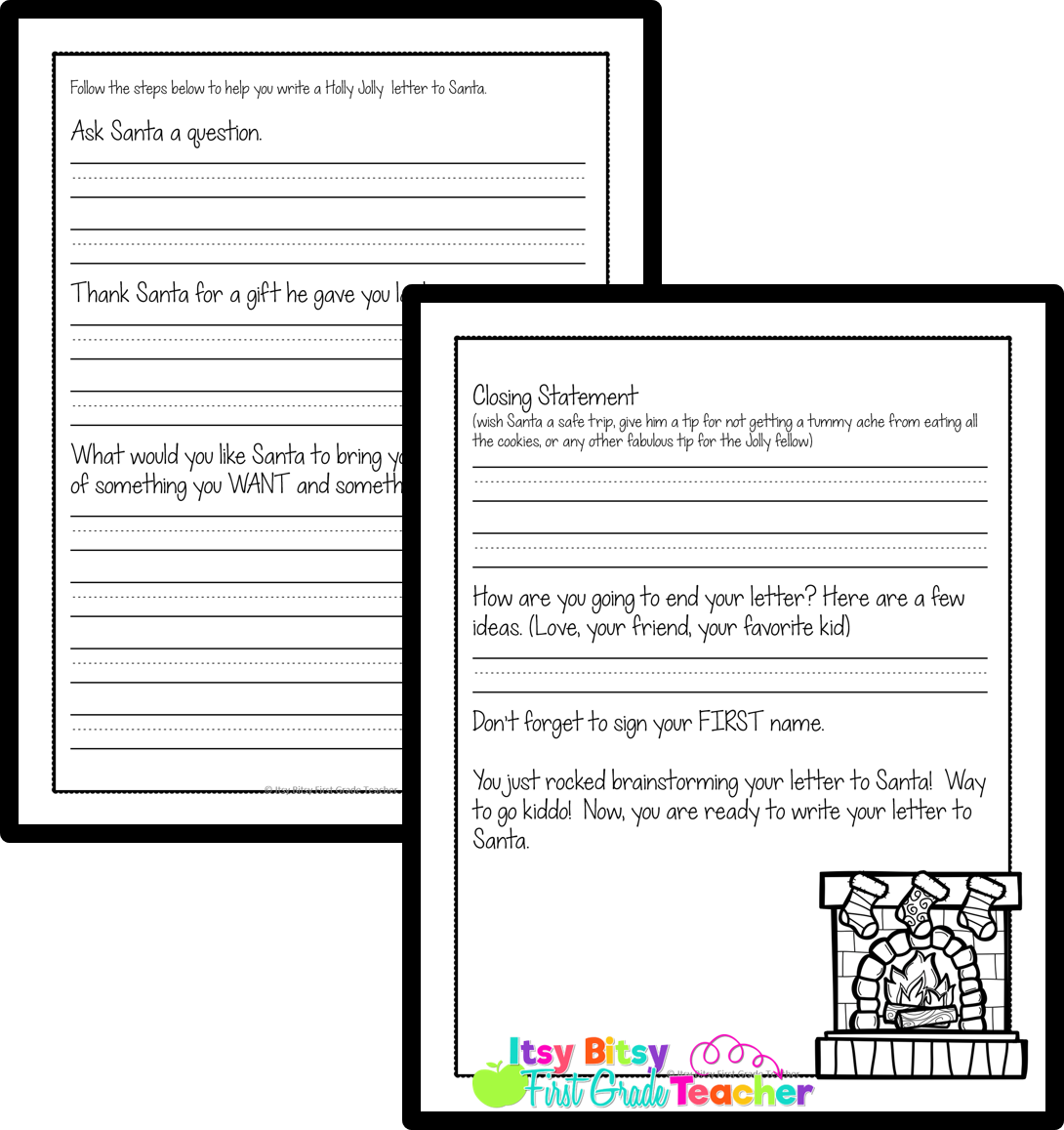 Itsy Bitsy First Grade Teacher Santa Letters Simplified