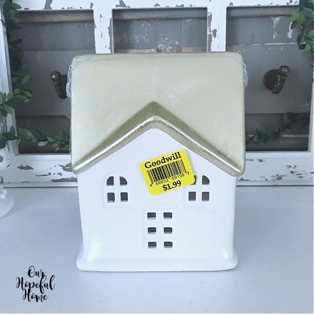 Target Dollar Spot porcelain gold roof bisque house