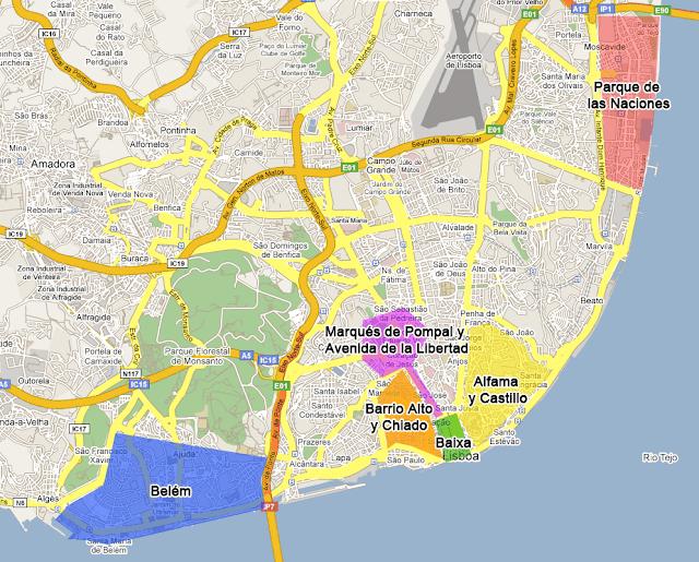 Mappa dei quartieri di Lisbona