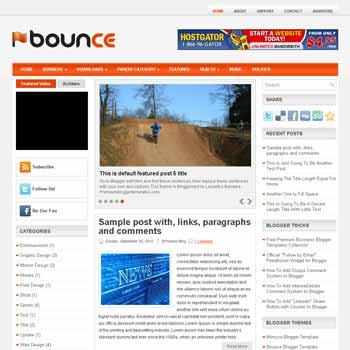 Bounce style blog template. template image slider blog. magazine blogger template style