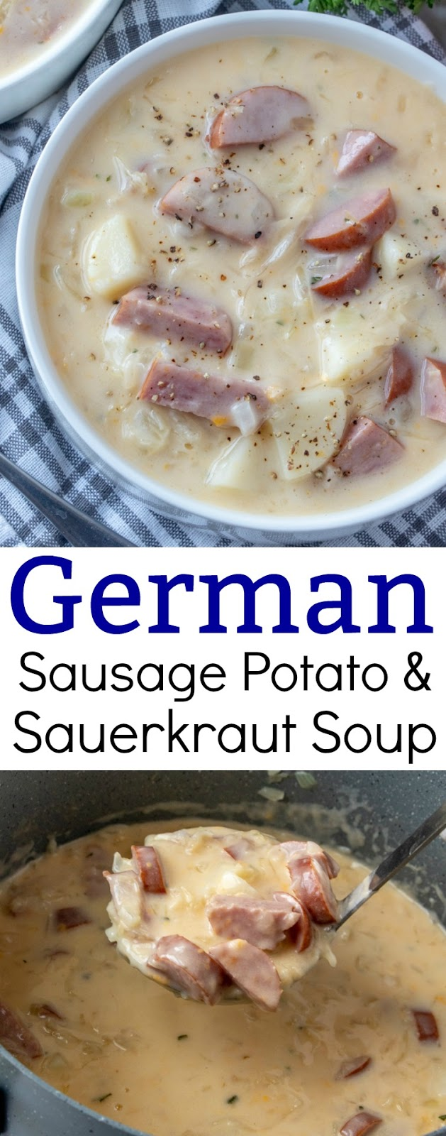 Delicious and easy 30 minute meal! Perfect for weeknight lunch or dinner and the sauerkraut adds a surprising touch of flavor in this German inspired soup. The kielbasa and potatoes make it hearty and comforting!
