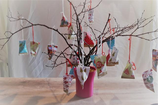 tuto diy noel calendrier de l'avent arbre branche berlingots complet