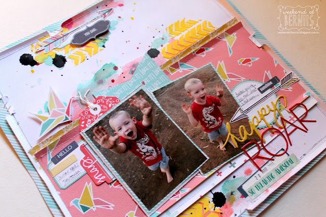 """Happy Roar"" layout by Bernii Miller for Scrap the Boys challenge site, using Fancy Pants - Happy Place collection."