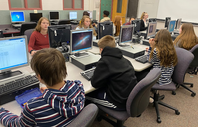 Mrs. Runyon's 8th-grade science students research possible deep-sky targets to image through Insight Observatory's Astronomical Telescopes for Educational Outreach (ATEO) remote telescopes in the computer lab at Plymouth South Middle School. Photo credit: Karen Runyon.