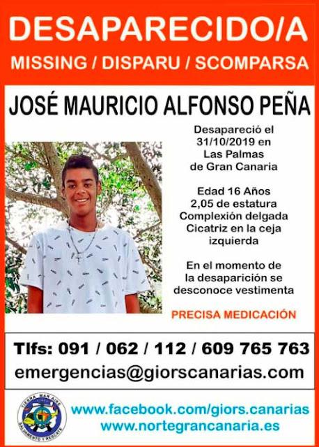 José Mauricio Alfonso Peña, menor desaparecido en Las Palmas de Gran Canaria