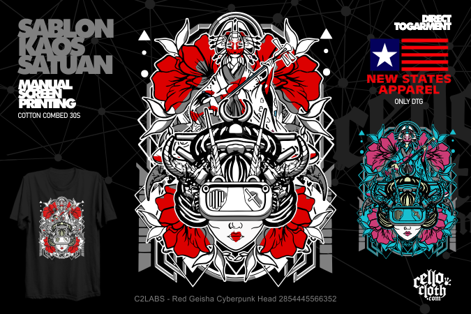 Red Geisha Cyberpunk Head 2854445566352 Kaos Distro C2LABS