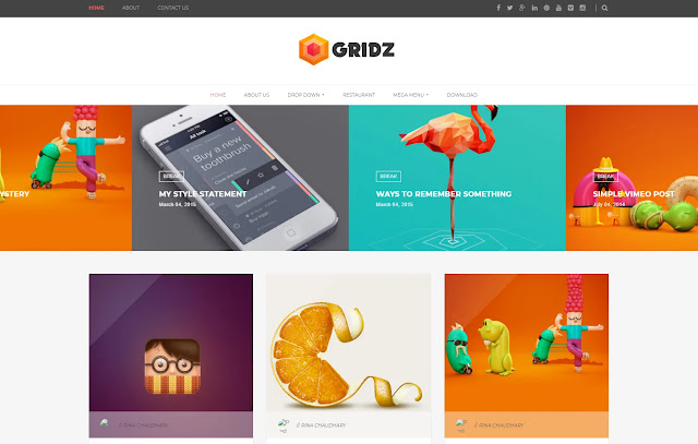 Gridz Responsive Magazine Personal Blog Tutorial Tips & Tricks Blogger Template Theme