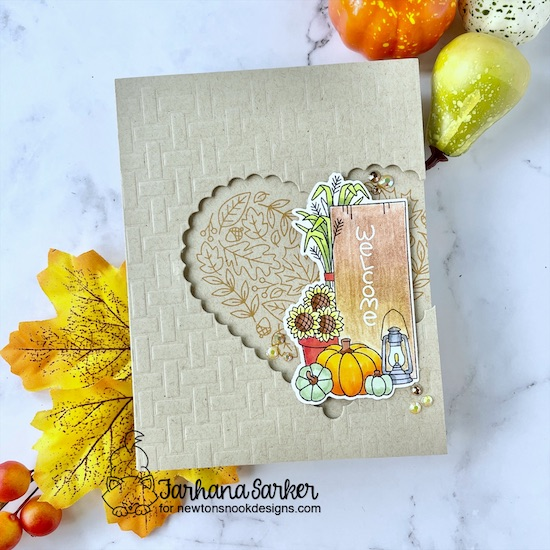 Fall themed card set by Farhana Sarker | Signs of Fall Stamp Set, Heartfelt Fall Stamp Set, Heart Frames Die Set and Basketweave Stencil by Newton's Nook Designs #newtonsnook