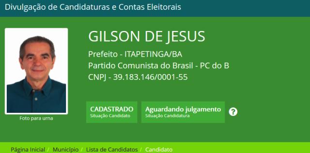 Candidato PC do B, Gilson de Jesus