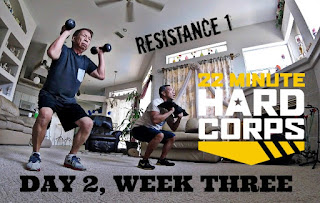 Day 2 Week Three 22 Minute Hard Corps Challenge - Resistance 1 Workout - Sandbag Workout