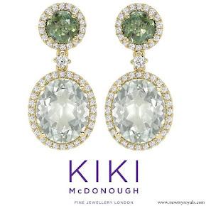 Kate Middleton KIKI McDONOUGH Green Tourmaline and Green Amethyst Oval Drop Earrings