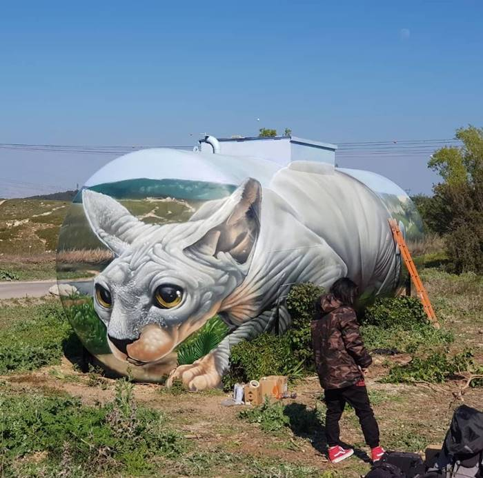 Street Artist Paints A Mind-Bending Illusion Of A Sphynx Cat On An Old Gas Tank