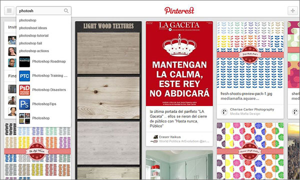 Search for Photoshop related content on Pinterest