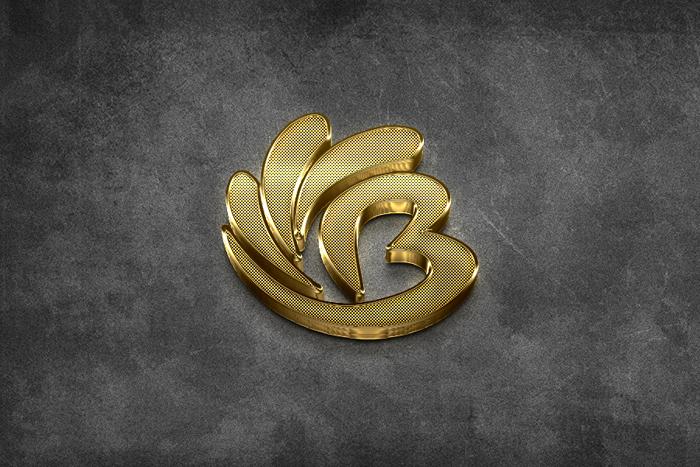 Golden 3D Stereo Engraving Logo Mockup