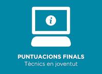 Puntuacions finals obtingudes al procés selectiu convocat per a la constitució d'una borsa de treball de tècnics en joventut del Consell Comarcal del Gironès