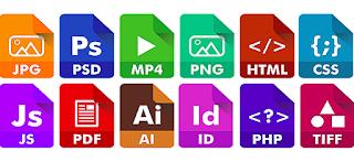 عدة ملفات على سطح المكتب ، تظهر امتدادات الملفات