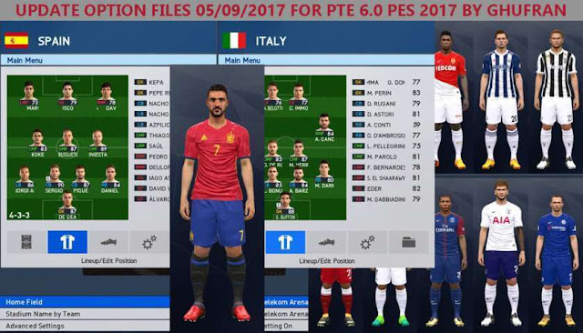 Option File Update Transfer For PTE Patch 6.0 PES 2017