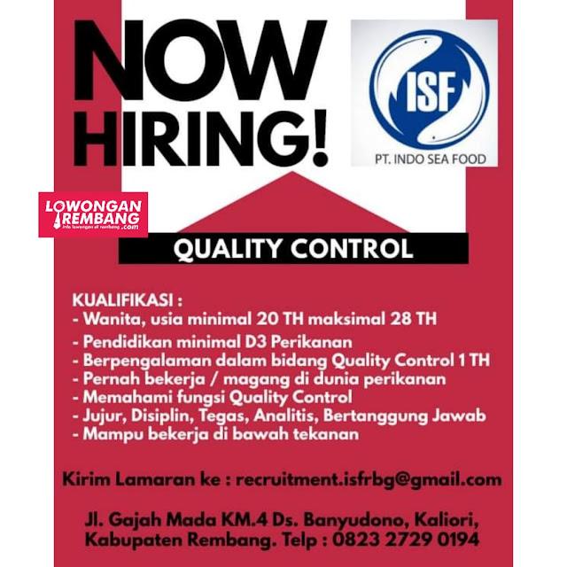 Lowongan Kerja Quality Control PT Indo Sea Food Rembang