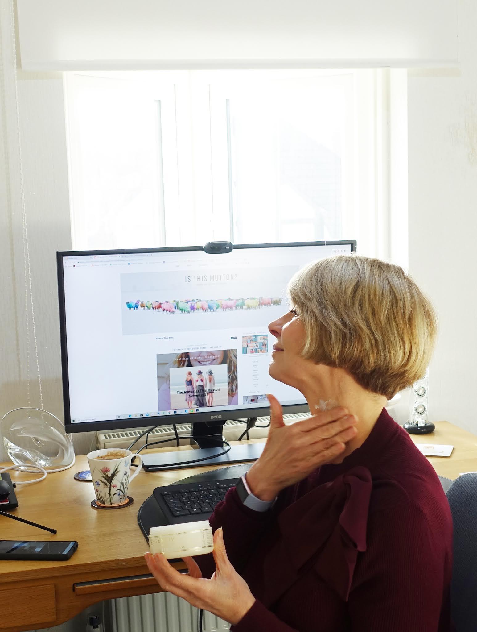 Gail Hanlon from over 50s blog Is This Mutton using Regentiv Neck and Decollete Rejuvenation cream