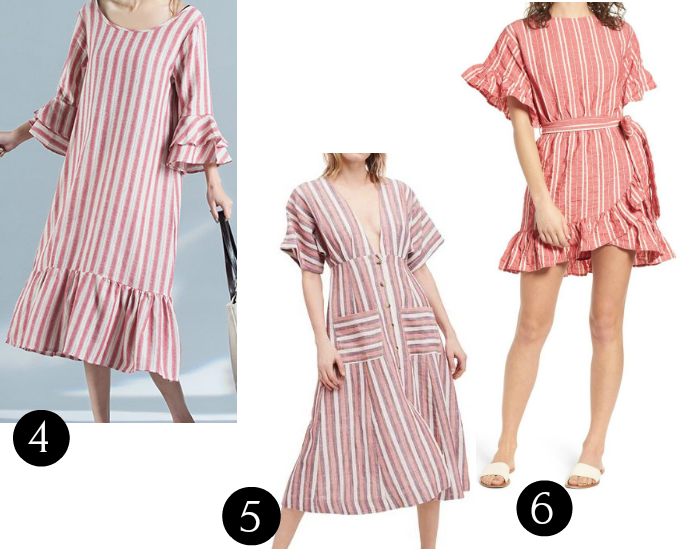 Bell Sleeve Flounce Casual Linen Stripes Dress, Free People Monday Stripe Linen Blend Midi Dress, Robin Stripe Ruffle Trim Dress