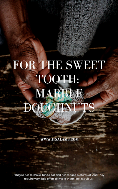For the Sweet Tooth: Marble Doughnuts on www.itsalamb.com. Click here to read more or pin and save for later. #food #sweettooth #doughnuts