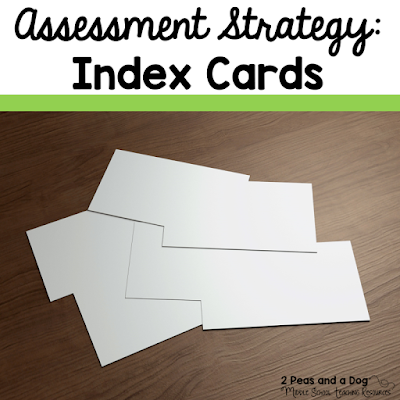 Don't throw away those index cards. Use them to help students self-assess after lessons from the 2 Peas and a Dog blog.