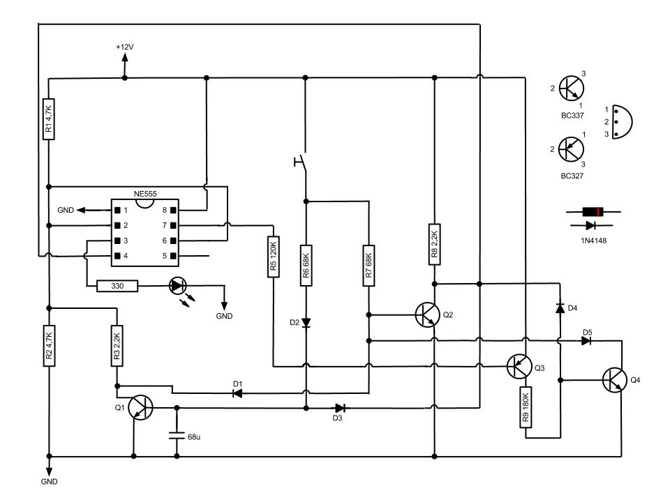 Simple Momentary Switch with 555   Electronic Circuit