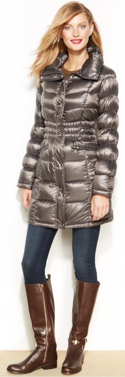 Michael Kors Pillow-Collar Quilted Packable Down Puffer Coat