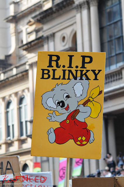 Sydney Climate Rally - 'RIP Blinky Bill' the famous story book Koala