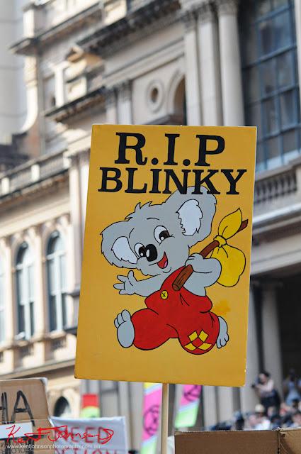 Sydney Climate Rally - 'RIP Blinky Bill' the famous story book Koala