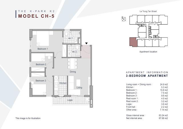 Căn 05 - 83.24m2 - 3 phòng ngủ (BC Tây Bắc, Tây Nam)