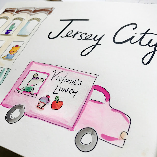 New Whimsy City Collection featuring Jersey City, New York City, Hoboken by artist Lady Lucas | Linzer Lane Blog