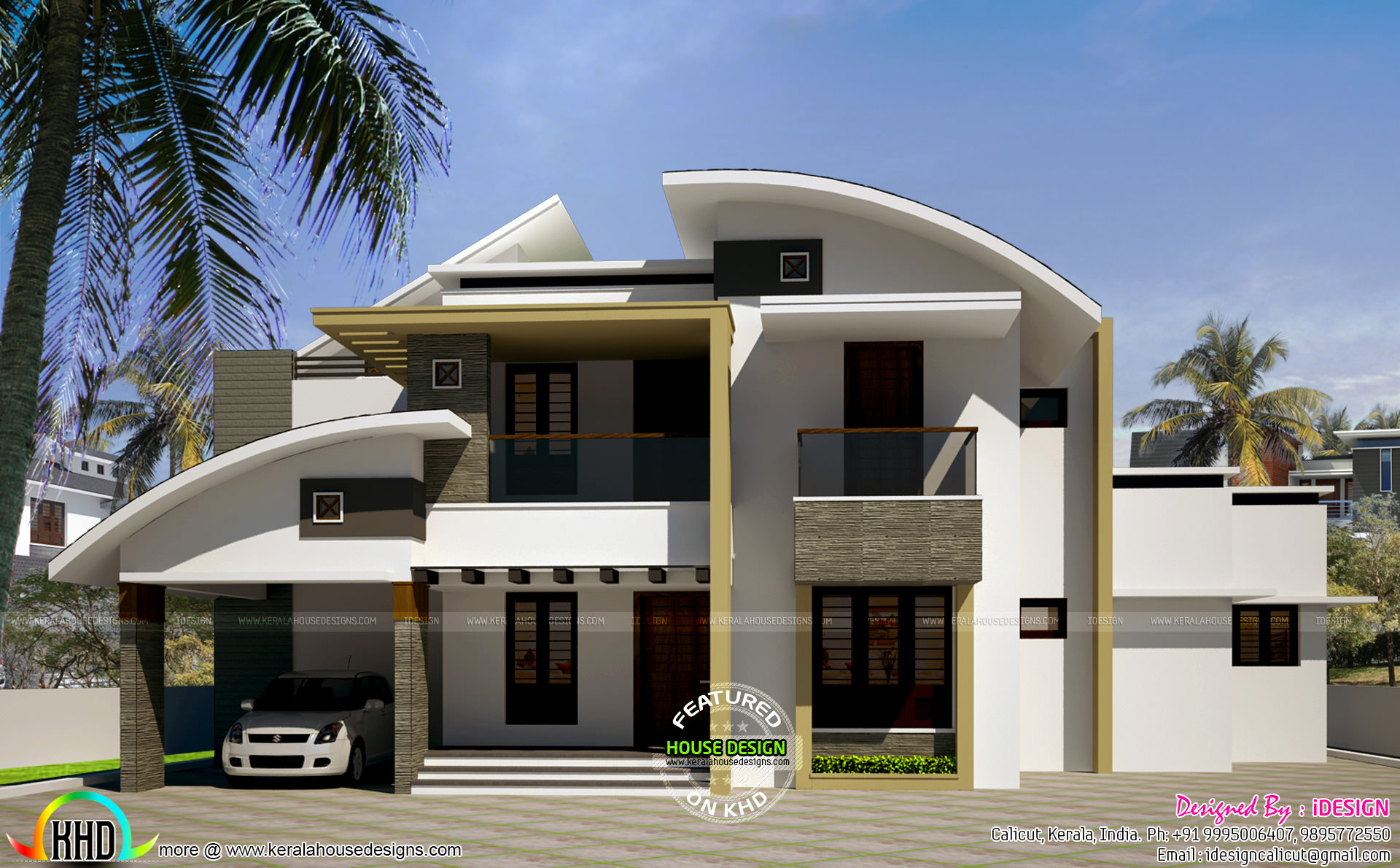 January 2017 kerala home design and floor plans for Curved roof house plans