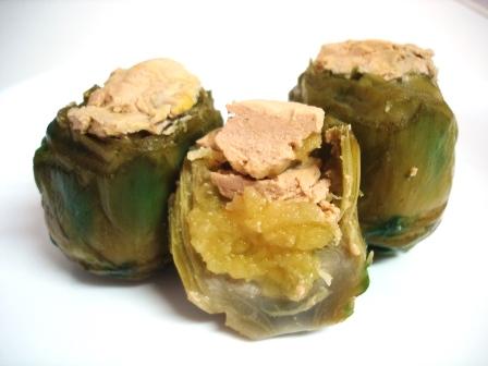 alcachofas manzana foie