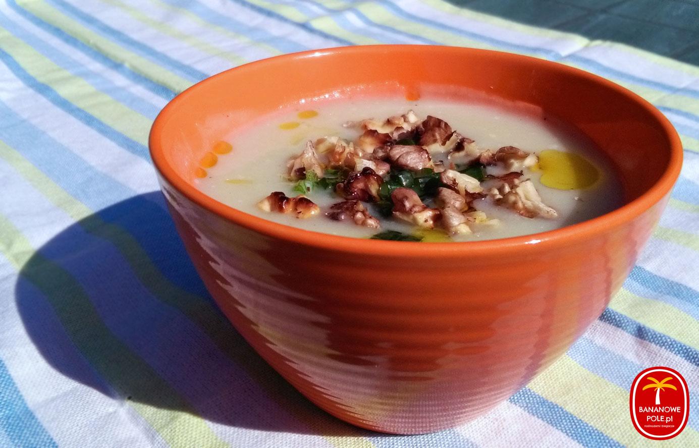 Zupa krem z białych warzyw z orzechami