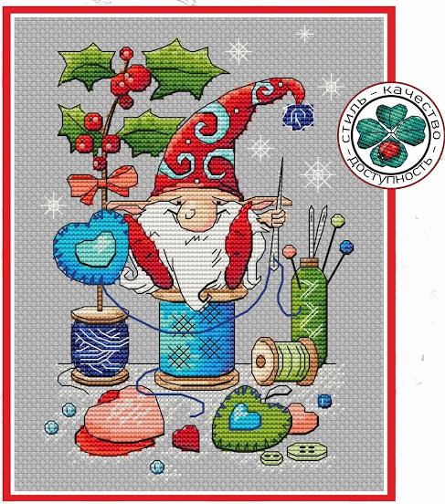 Schema punto croce Natale-gnomo portafortuna