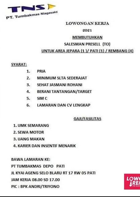 Lowongan Kerja Salesman PresellPT Tumbakmas Niaga Sakti Semarang Area Rembang Pati Jepara