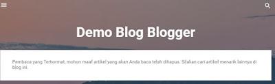 Contoh tampilan pesan khusus jika artikel blog tidak ditemukan