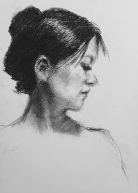 black and white art, drawing, woman, profile, Connie Chadwell