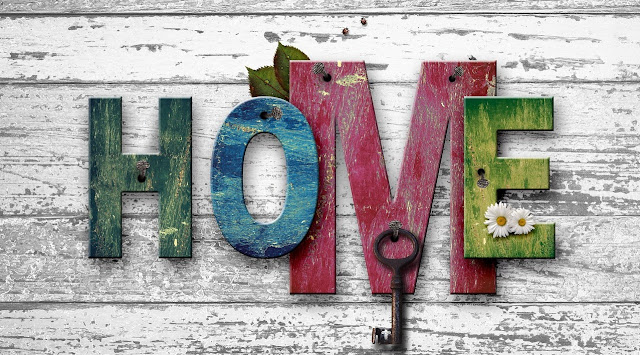 Decorative image that spells out: Home