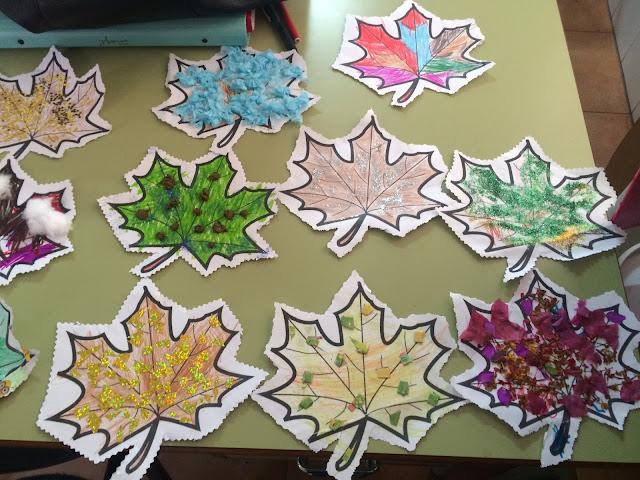 Resultado de imagen de imagenes de hojas de otoño decoradas