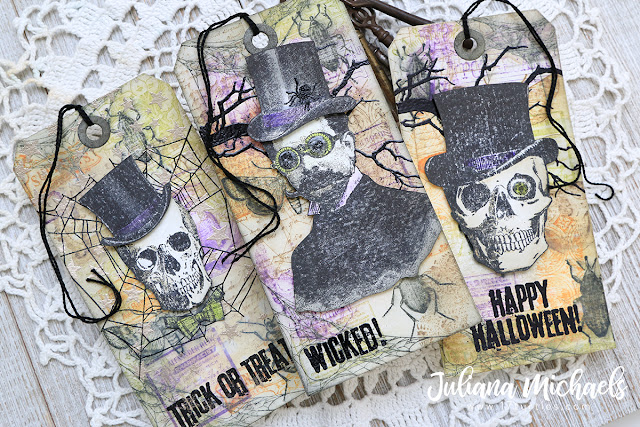 Wicked Halloween Tags featuring Stamp and Smear Background Technique with Distress Oxide Inks. Products used include Tim Holtz Stampers Anonymous stamps and Ranger Ink