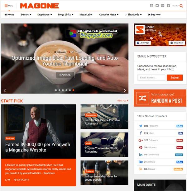 magone blogger template fast load gratis keren