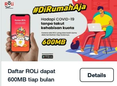aplikasi ROLi gratis kuota internet
